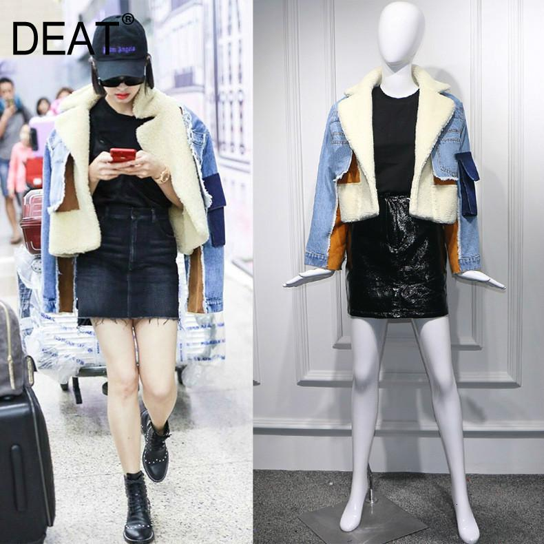 DEAT winter sheep fur turn-down collar full sleeves denim blue patchwork spliced clothes letters printed coat trench WJ1020 201017