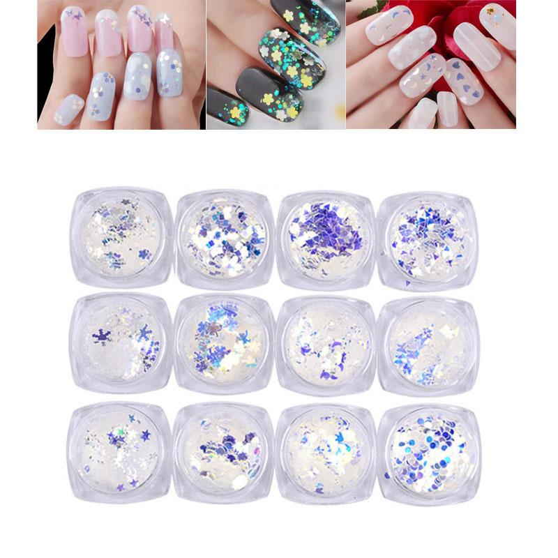 2g/box Nail Art Glitter Sequins Butterfly Star Round dot Shape Holographic Nails Flakes Tips Symphony Blue light DIY Decoration
