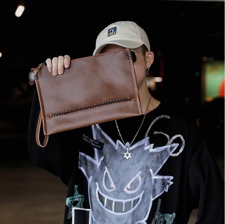 Factory wholesale men handbag retro crazy horse leather men wrist bag simple Joker leather envelope bag business large clutch wallet