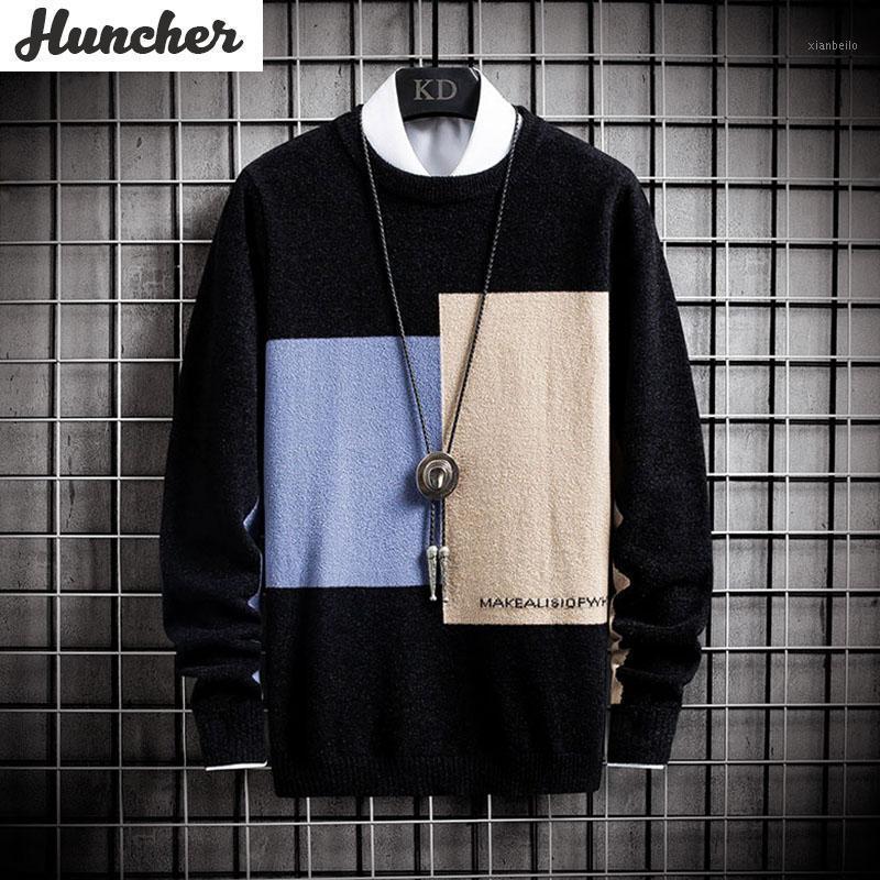 Hatcher männer gestrickte pullover männer 2020 winter patchwork jumper mode pullover pullover übergroß koreanisch stil beitigreater men1