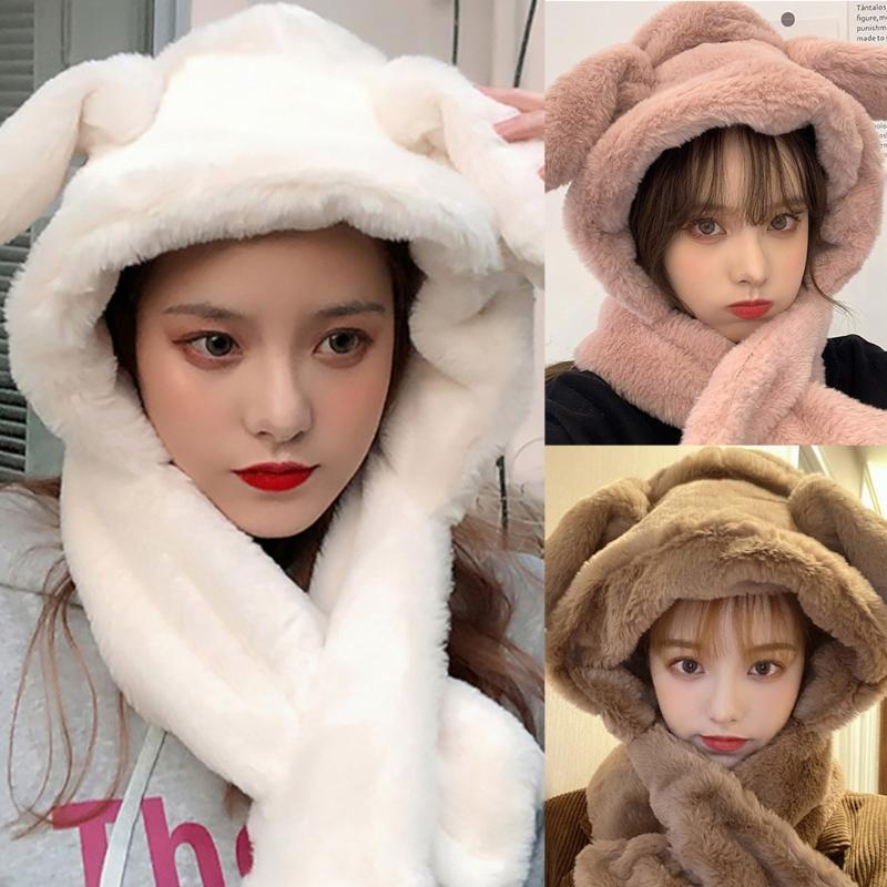 Chapeaux, écharpes gants met la casquette avec boucle oreilles femelles mignon beanie moqueur chapeau oreilleffample écharpe chaud 85wb