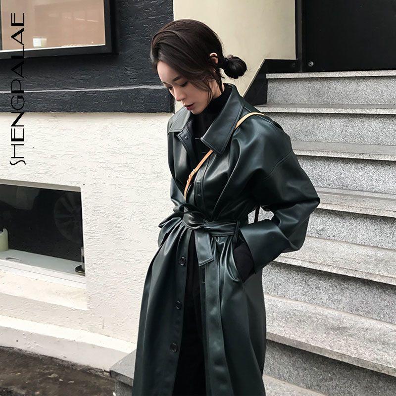 SHENGPALAE Winter Autumn Streetwear Style Women Full Sleeve Turn-down Collar Adjustable Waist PU Loose Coat Tide FQ941 201015