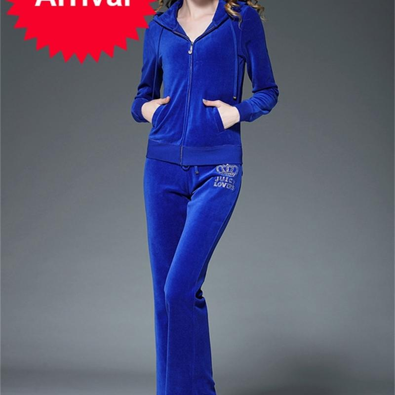 Juicy Lovers Marque Printemps Autumn Femmes Sporting Cuisson Bleu Grey Slim Zipper Pleuche Femme Casual Tracksuits Costume de sport