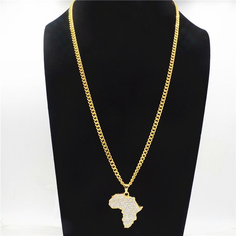 Afrika Haritası Kolye Kolye Bling Rhinestone Kristal Altın Renk Erkekler Kadınlar Için Hip Hop Zinciri Hediyeler Afrika Takı CY20