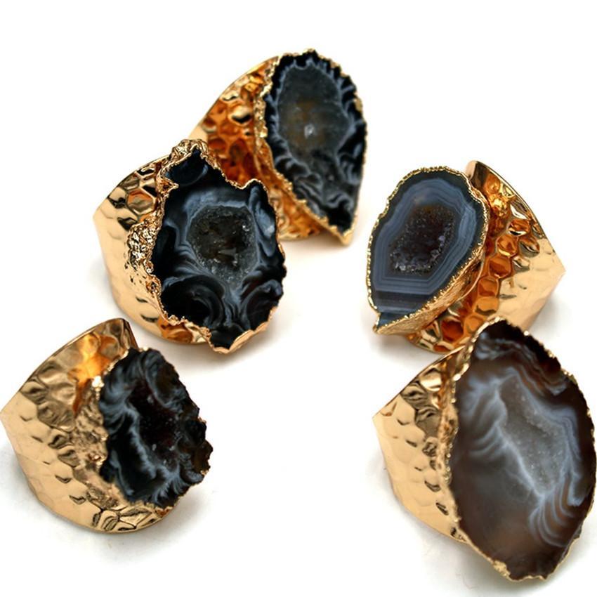 10 pièces en plaqué or de forme irrégulière Geode Agate ouverte redimensionnable Annulaire Party Bijoux cadeau