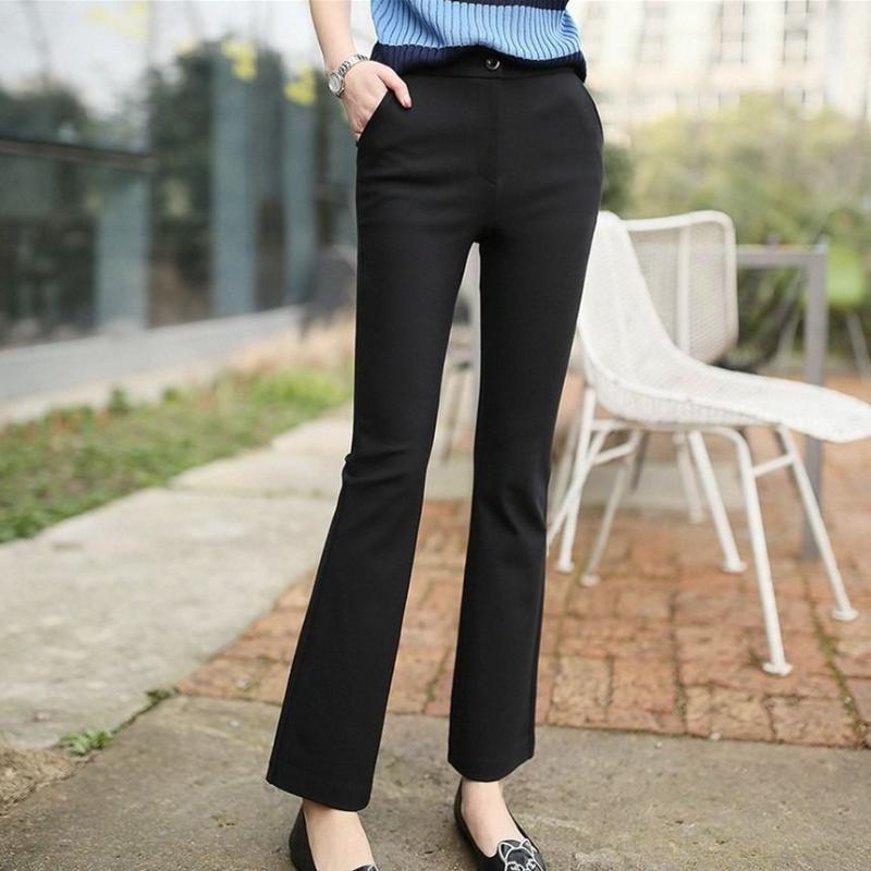 2020 Nouveau Spring and Summer Elegant Office Dames Solide Taille haute Femmes Élastique Pantalon Flare Pantalon Femelle Plus Taille Pantalons L501