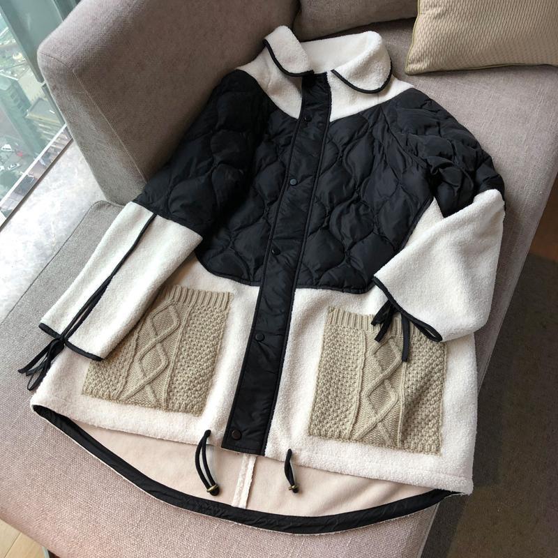 Casual Kadın Parkas Kış 2020 Yeni% 90 Aşağı Coat Kadınlar Fermuar Renk Eşleştirme Kuzu Yün Ekleme Örme Pocket ceketler Kadınlar