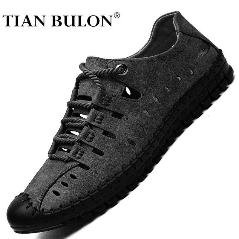 Cuero casuales de la moda de los hombres zapatillas de deporte hecho a mano transpirable hombre verano zapatos ligeros para hombre de los holgazanes Mocasines Calzado