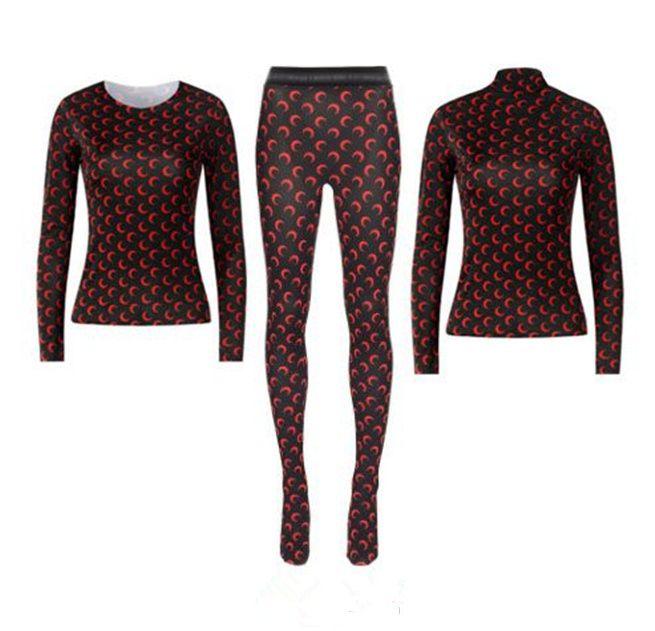 2020SS 루그 슬리브 해양 세워 세트 레깅스 바닥 티셔츠 여성 고품질 겹치는 하프 문 꽉 탑 티셔츠 바지 소녀 티셔츠