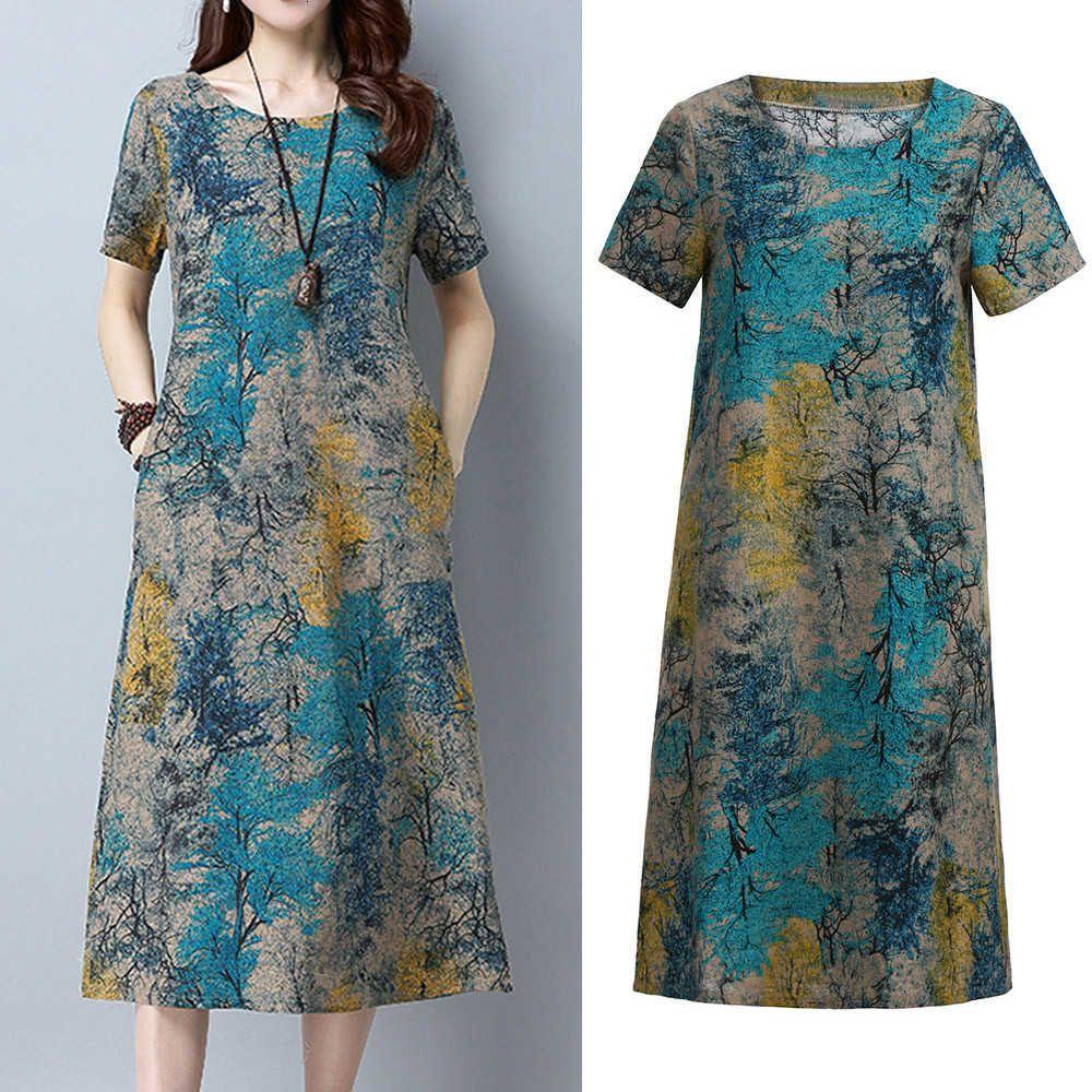 # z25 Plus Size Biancheria di cotone Lino Estate Donne Vintage Eleganti Signore Allentati Casual ES OL OL Lavoro Wear Sun Vestidos