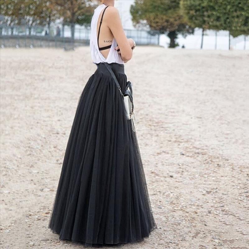Falda plisada de cintura alta Malla sólida Faldas de tul largo para mujer Falda de niña Señoras Casual 60-95 cm