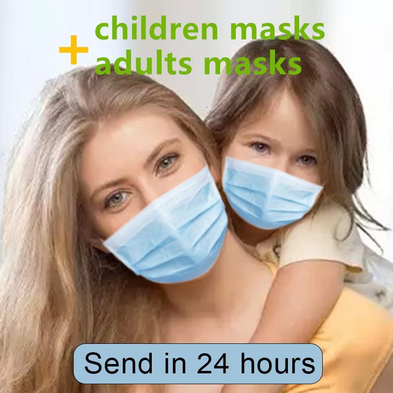 Niño adulto máscara de la máscara de tres capas máscara protectora anti polvusion a prueba de polvo uso al aire libre Mesas impermeables Máscara