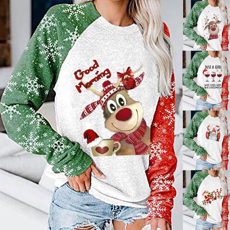 Graphic T Shirt Winter Merry Christmas Color Women's Loose Pattern Long Sleeve Round Neck Tops T-shirt Koszulki Damskie