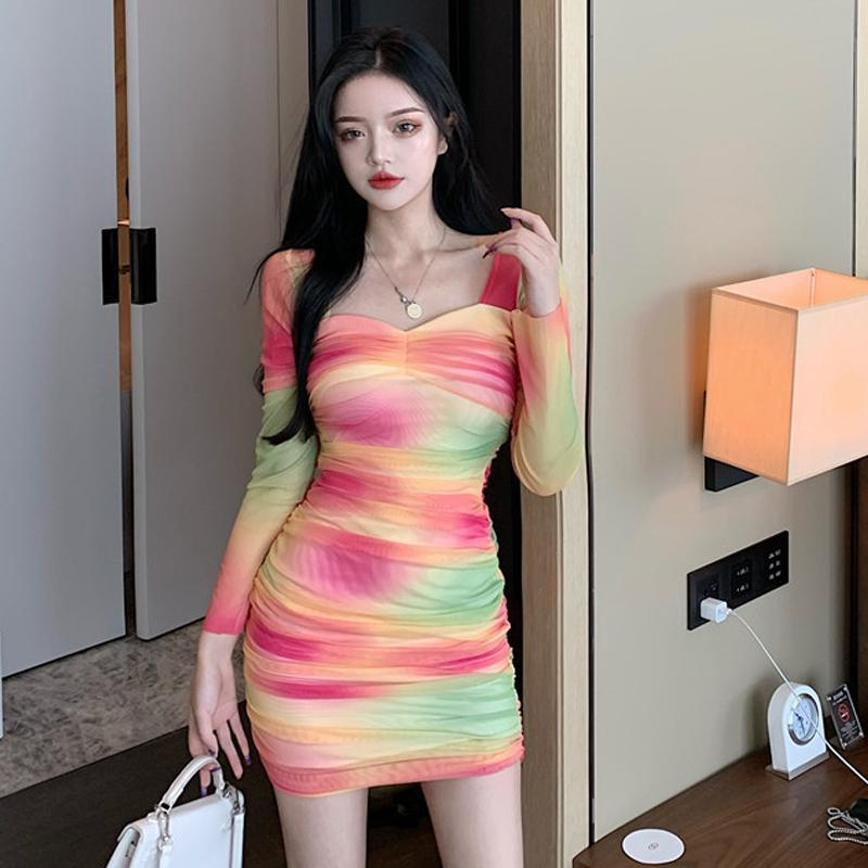 Sexy Club Square Collar Bodycon Dress for Women Fashion Brand Autumn Style Mesh Ladies Dresses Party Evening Elegant New