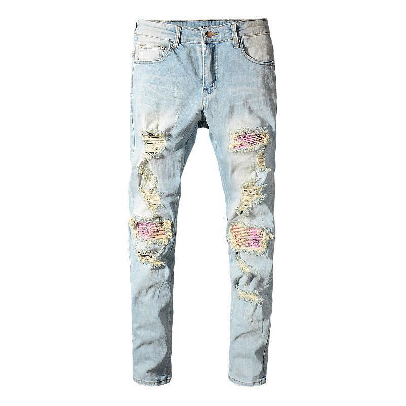 Moda Streetwear Erkekler Jeans Vintage Açık Mavi Yıkanmış Slim Fit Elastik Jeans Men Patchwork Skinny Hip Hop Pantolon Ripped