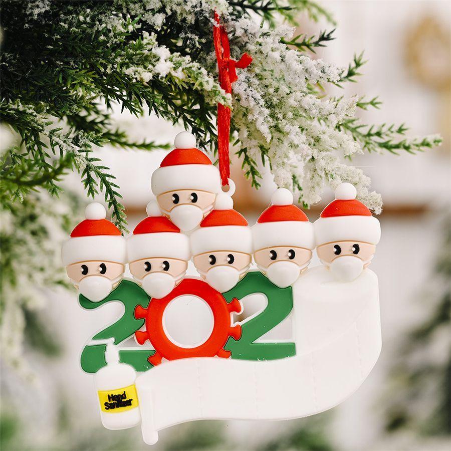 Cuarentena Partido Cumpleaños de Navidad regalo de la decoración personalizada Familia de 4 ornamento pandemia Distanciamiento social Mano Desinfección YYE1813