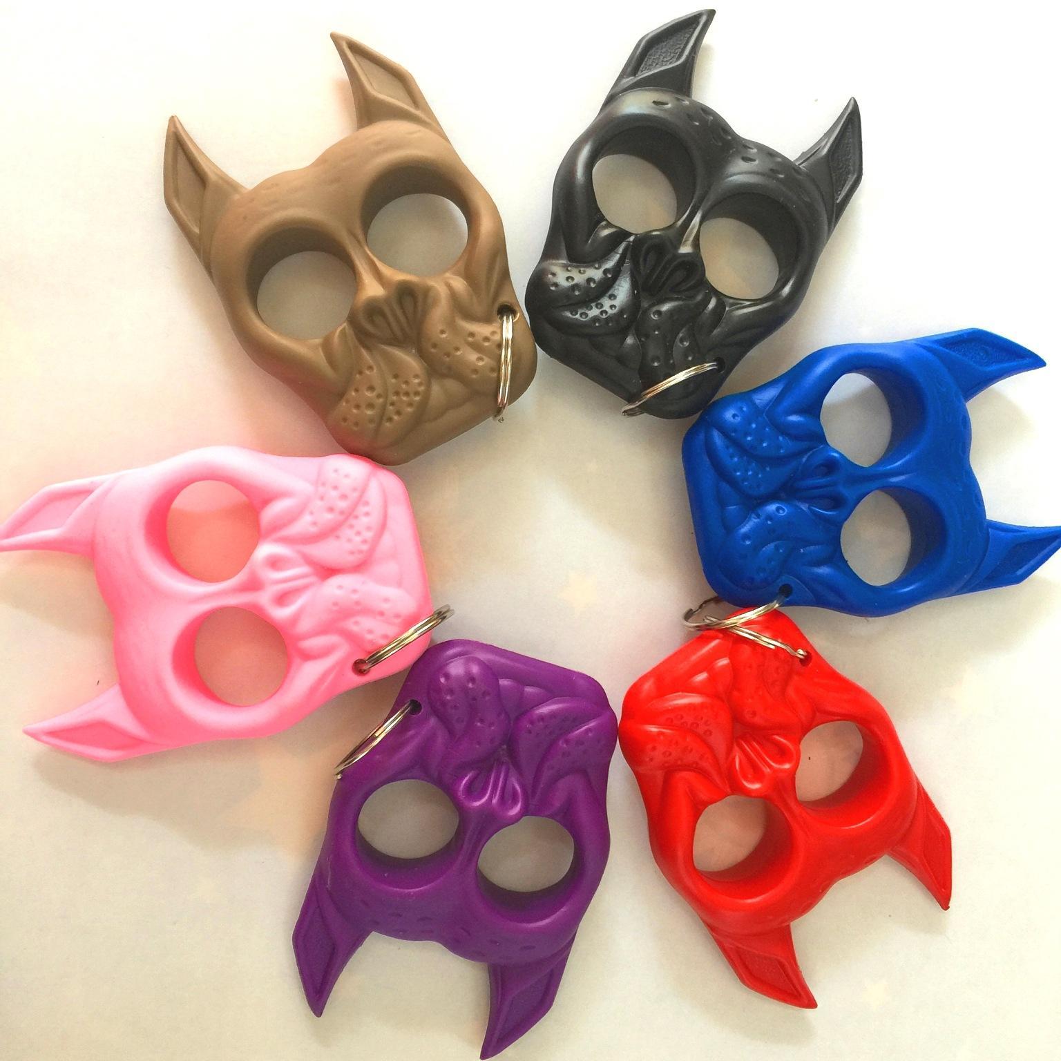 6 ألوان الطوارئ الدفاع الذاتي المفاتيح للنساء الشخصية السلامة البلاستيك الصلب تالون الكلب رئيس سلسلة مفتاح سحر سيارة سلاسل المفاتيح