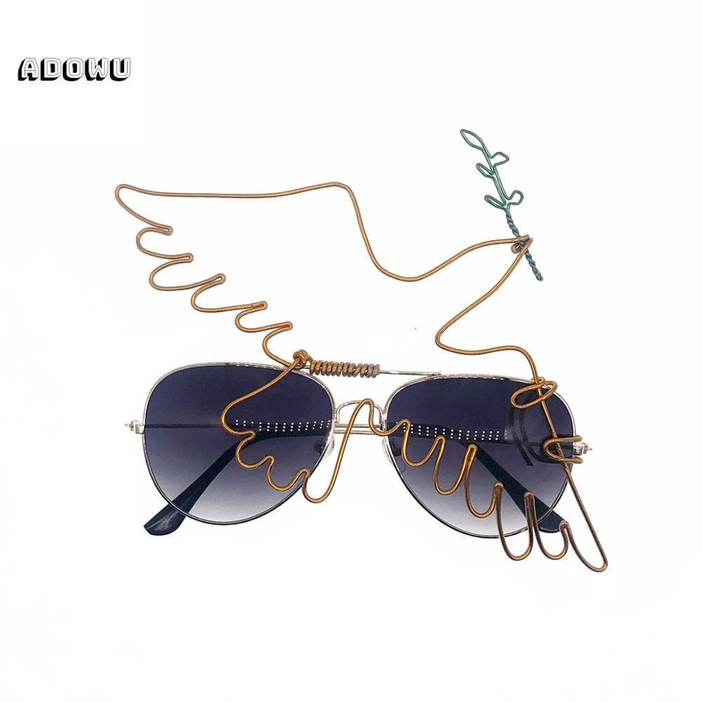 ADOWU classique Peace Dove Olive Branch Shape Art Femme Lunettes de soleil 2020 Bijoux aluminium bobinée Lunettes Artisanat