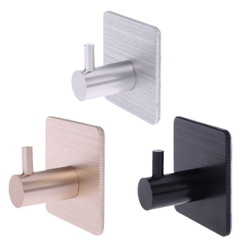4 piezas de auto-adhesivo de ganchos hogar de la pared puerta de la cocina la ropa del gancho Escudo sostenedor del bolso clave Percha de baño toalla de almacenamiento en rack de aluminio