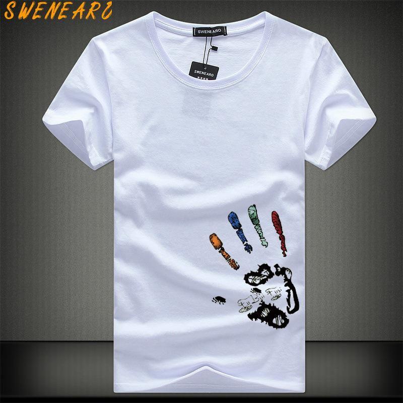 Camisetas SWENEARO Homens TShirts Plus Size 5XL 4XL Camiseta Homme Verão da luva dos homens Curto Masculino TShirts Camiseta T-shirt Homme