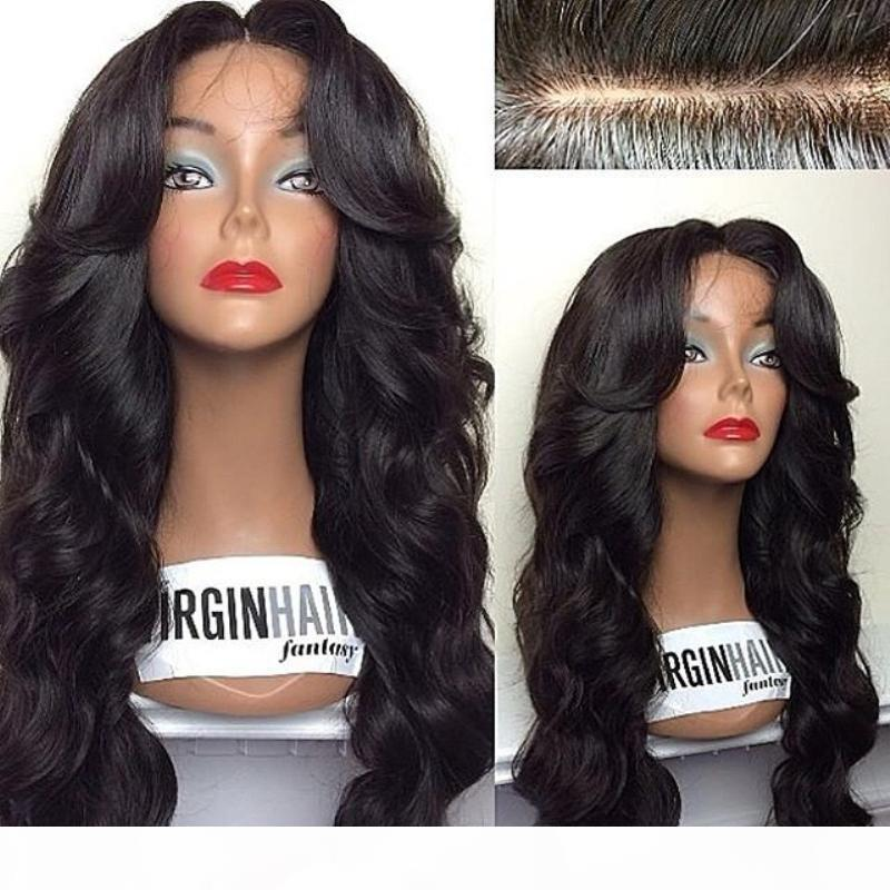 Тело волнистые человеческие волосы без глиной полные кружевные парики с натуральными волосами 4 * 4 шелковых верхних париков с полным кружевными париками с детскими волосами вокруг в наличии
