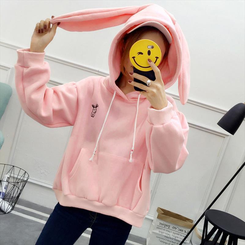 2021 Mulheres Hoodie Hoody Moleton Com Capuz Sweetstring Bolsos Pullove com Orelhas de Coelho Suéter Senhora Com Capuz Loose Top Azul Rosa Branco