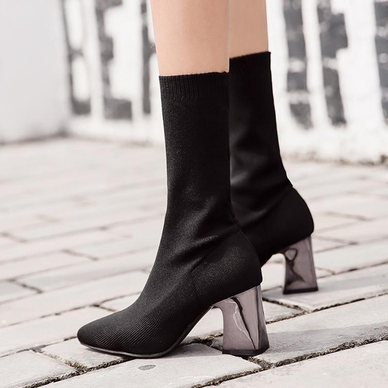 Rodada Toe Senhora Botas Botas-mulheres Mid-Calf Sapatinho Mulheres Luxury Designer Calçado de inverno saltos baixos botas senhoras