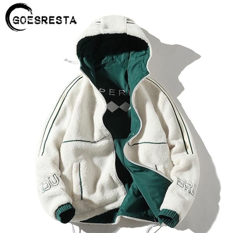 Jaqueta masculina dupla face desgaste lalambswool inverno novo jaqueta casual quentes quentes parkas casaco homem com capuz roupas masculinas 201022
