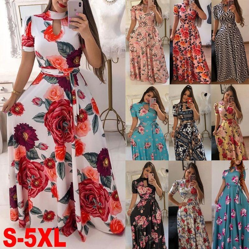 S-5xl Talla grande Maxi Party Dress Fashion Women Sexy Hollow Out Print Cripper Bodycon Vestido Verano Manga corta Bohemian Vestidos Y200418