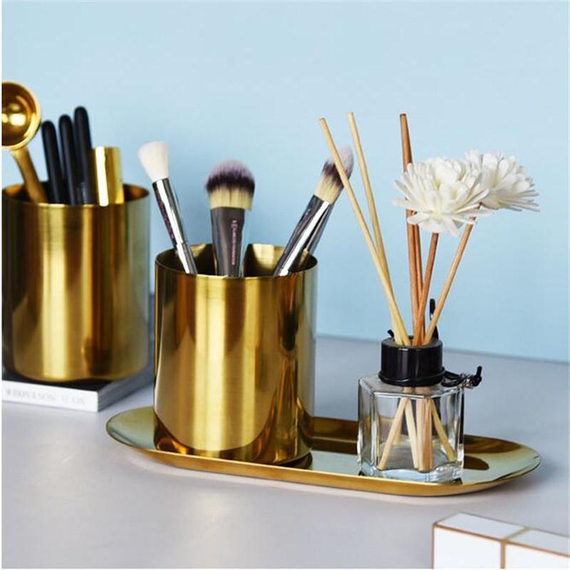 Penna placcata oro contenitore retrò vaso in acciaio inox multi funzione desktop stoccaggio tazza arredamento per la casa moda tubo cosmetico nuovo 18yh k2