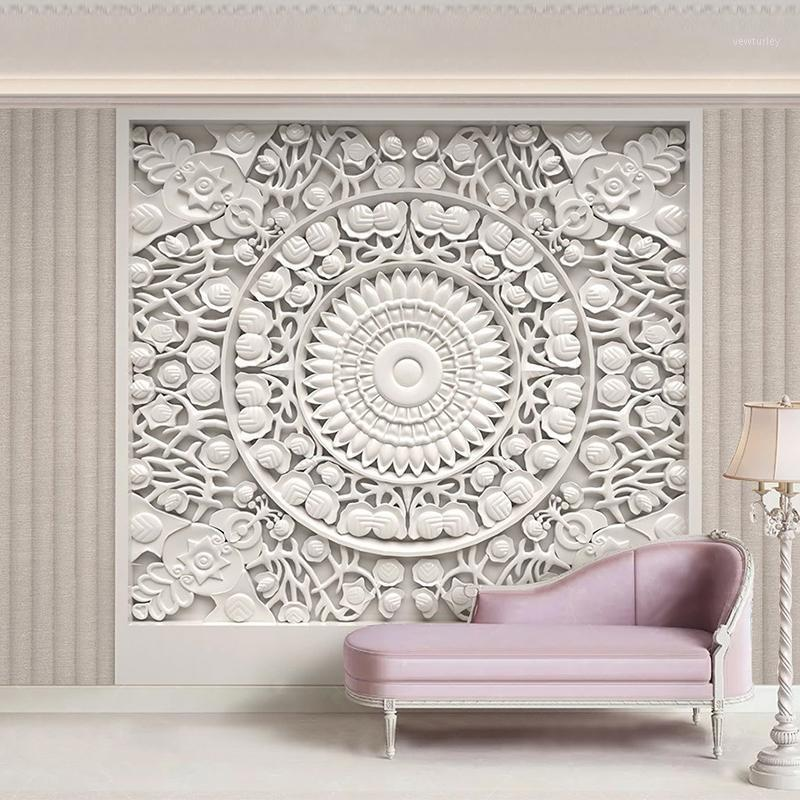 Custom Wallpaper Home Decor European Style Белый штукатурка вырезанные 3D стереоскопическое облегчение гостиной телевидение фон роспись де Parede1
