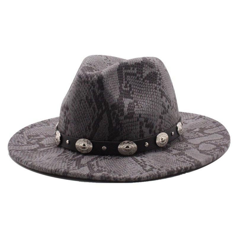 النمط البريطاني فيدورا قبعة الرجال النساء الصوف الشتاء الدافئ شعرت القبعات جلد الثعبان نمط خمر الجاز تريلبي قبعة