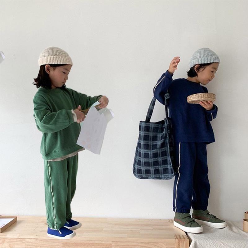 Spring Boys 'and Girls' Korean Children's Kidted Cotton Plain Side Sports Sports Ocio Traje Pantalones Pantalones Pantalones Juego de dos piezas 2021