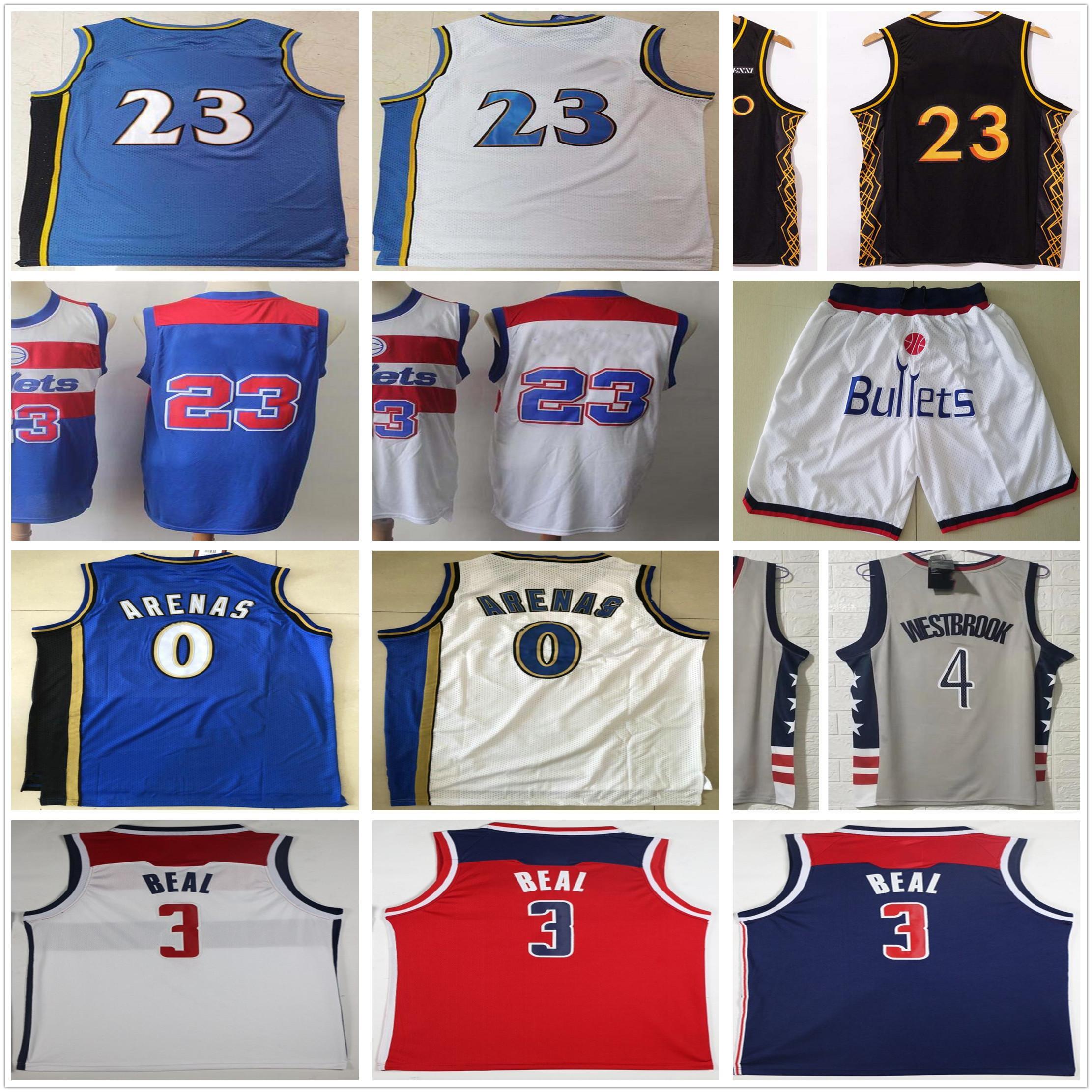 NCAA Bradley 3 BEAL 4 Westbrook Trikots Neue Grau Rot Blau Weiß # 23 Großhandel Billig Retro Vintage Classic Gilbert 0 Arenas Basketball Jersey