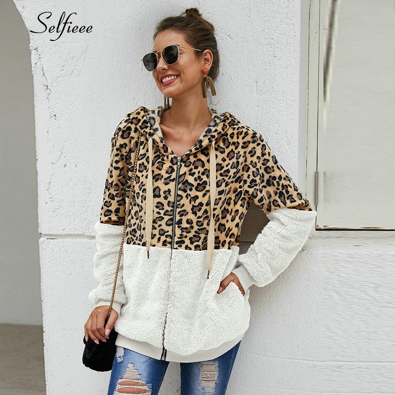 Outono-Inverno Moletons Mulheres com capuz Leopard Hoodies Casual Zipper manga comprida com capuz Moda Top Quente Brasão Polerones Mujer 200928