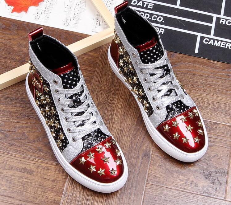 La venta caliente clava el tobillo botas para los hombres Rojo zapatillas casual para hombre Negro Moda zapatilla de deporte de los hombres