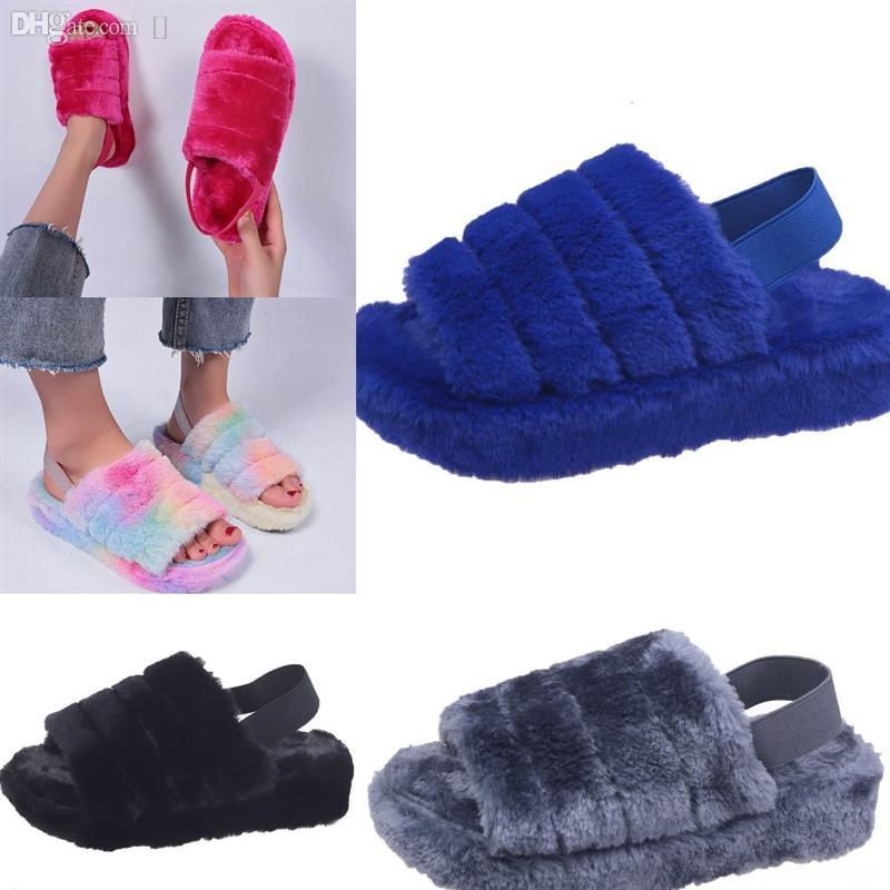 TLMQL Puffer Australische Stiefel Womens Designer Slipper Designer Pelzige Flusen Slipper Mode Yeah Dias Pantoufles Pelz Luxus Sandalen hoch