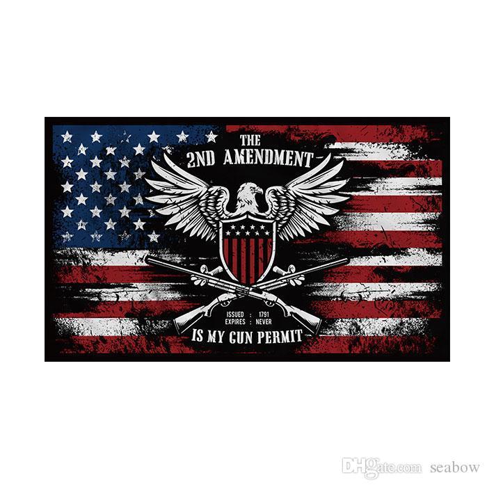 Die 2. Änderung Flag Is My Gun Permit 3x5 FT 90x150cm State Flag Festival-Party-Geschenk 100D Polyester Indoor Outdoor Printed Heißer Verkauf
