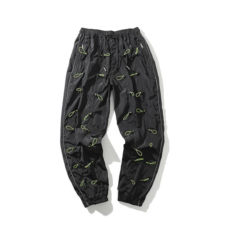 Harajuku İpli Dekoratif Işın Ayak Rahat Pantolon Erkekler Ve Kadınlar Yüksek Sokak Elastik Bel Gevşek Sweatpants Büyük Boy X1228