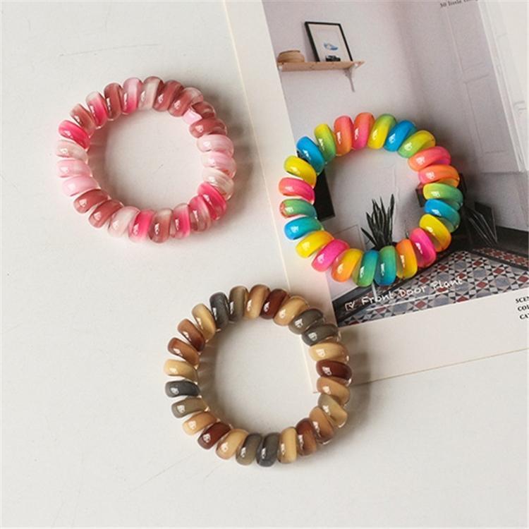 legame dei capelli 8 colori per bambini Telefono Wire hairband colorato supporto del Ponytail accessori per capelli elastico corda linea telefonica del legame dei capelli del regalo del capretto