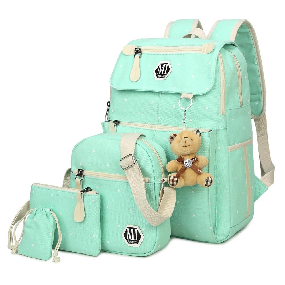Женщины рюкзак 4 шт. / Комплект для школьного колледжа подросток мода плецк рюкзаки плечо девушка и мальчики холст школьная сумка мочила сумка rfhsa