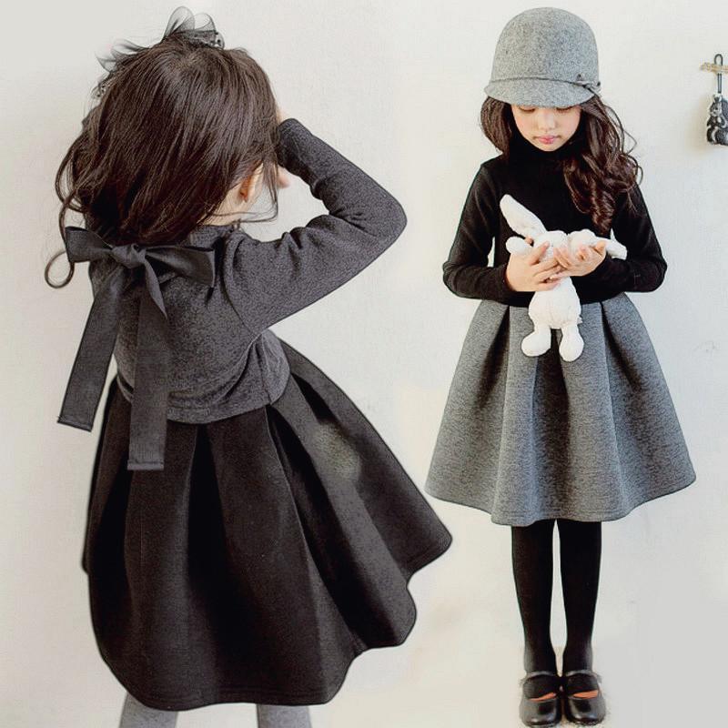 vestido 2020 novo inverno quente das meninas com cashmere, vestido na altura do joelho sem cashmere no outono, terno de roupas infantis saia 3-12T set bebê