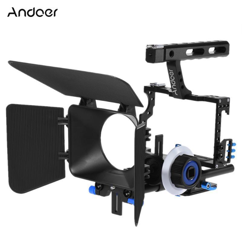 Andoer C500 Camcorder Video Cage Rig Kit Matte Box + folgen Fokus + Handgriff-Griff für GH4 A7S / A7 / A7R ILDC Kamera