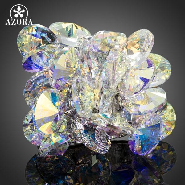 Кластерные кольца AZORA Очаровательный цветочный дизайн с цветным градиентом австрийского хрустального регулируемого кольца TR0133