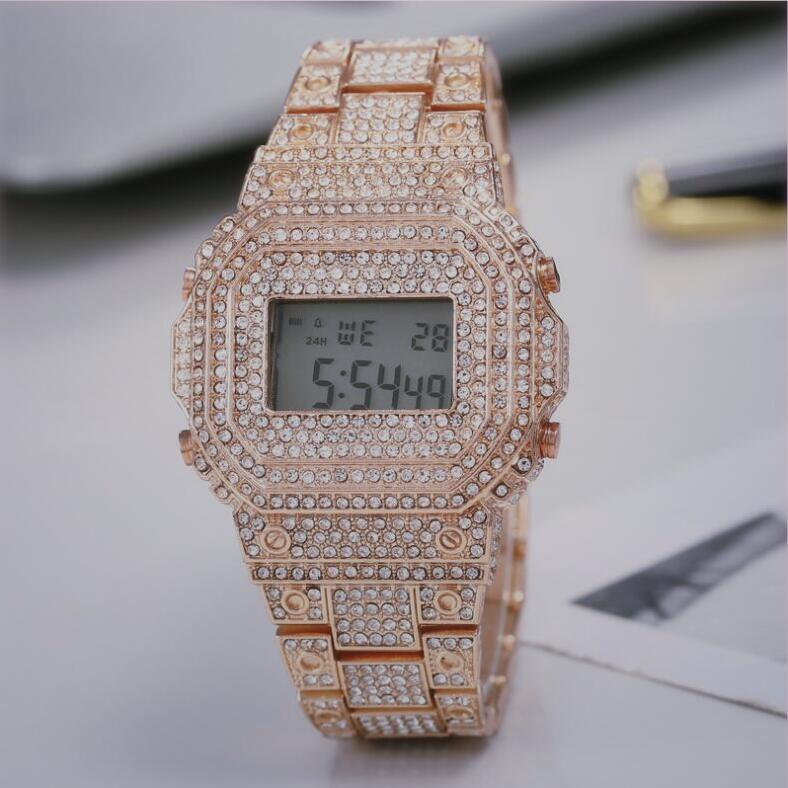 مستطيل الشكل التسجيل مصمم مثلج خارج الماس ووتش للرجال النساء LED الرقمية رجالي الرياضة للماء ساعة اليد الرجل أزياء ذكر ساعة