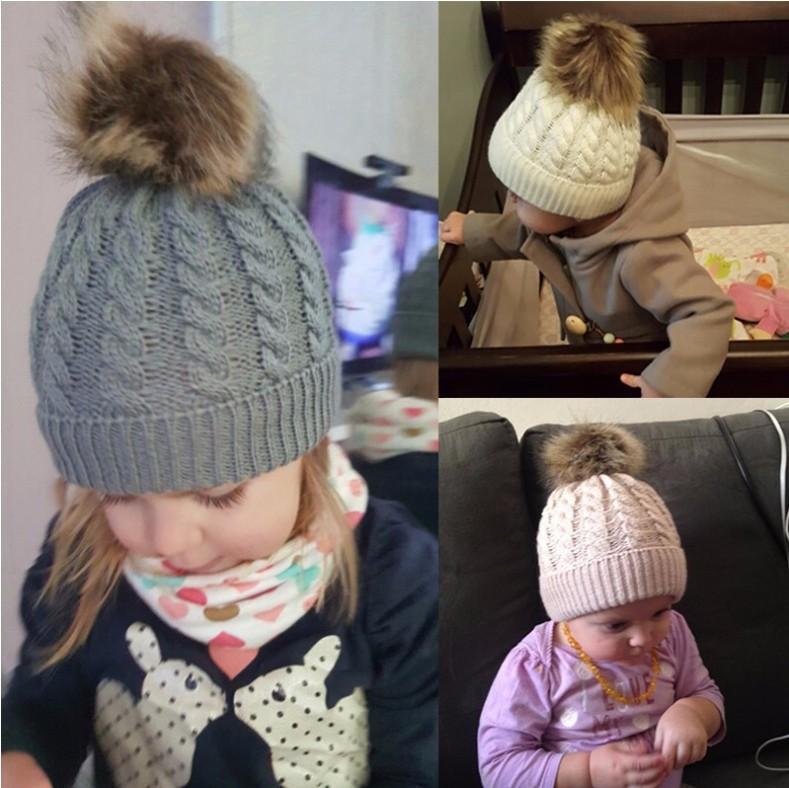 Niedliche Kleinkind Kinder Hüte Mädchen Junge Baby Winter Warme Häkeln Strick Hut 2021 Brand Mütze Pelzkappe Kinder Caps Kinder Mützen Winter