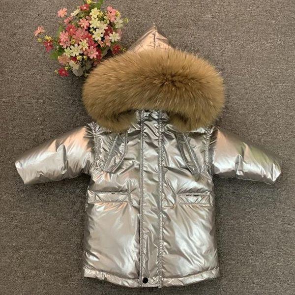 de los nuevos niños de invierno gruesa capa chicos chicas de moda chaqueta de piel verdadera - 30 grados 0930