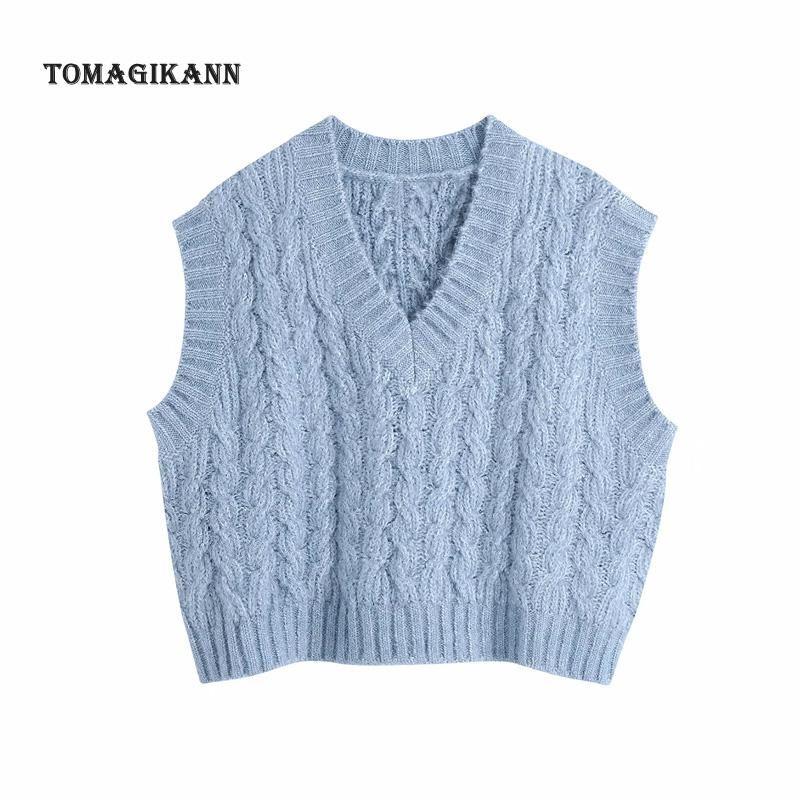 Mulheres Azul Crochet Camisola Trança Sólida Torção de Torção de Malha Sólida V Pescoço 2021 Primavera Pullovers Pullovers