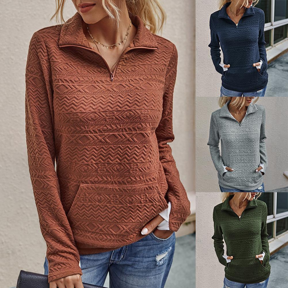 Solide Couleur Femmes Sweat-shirts La moitié Zipper Col haut Sweats overs Automne Hiver Femmes Sweatshirts Pulls