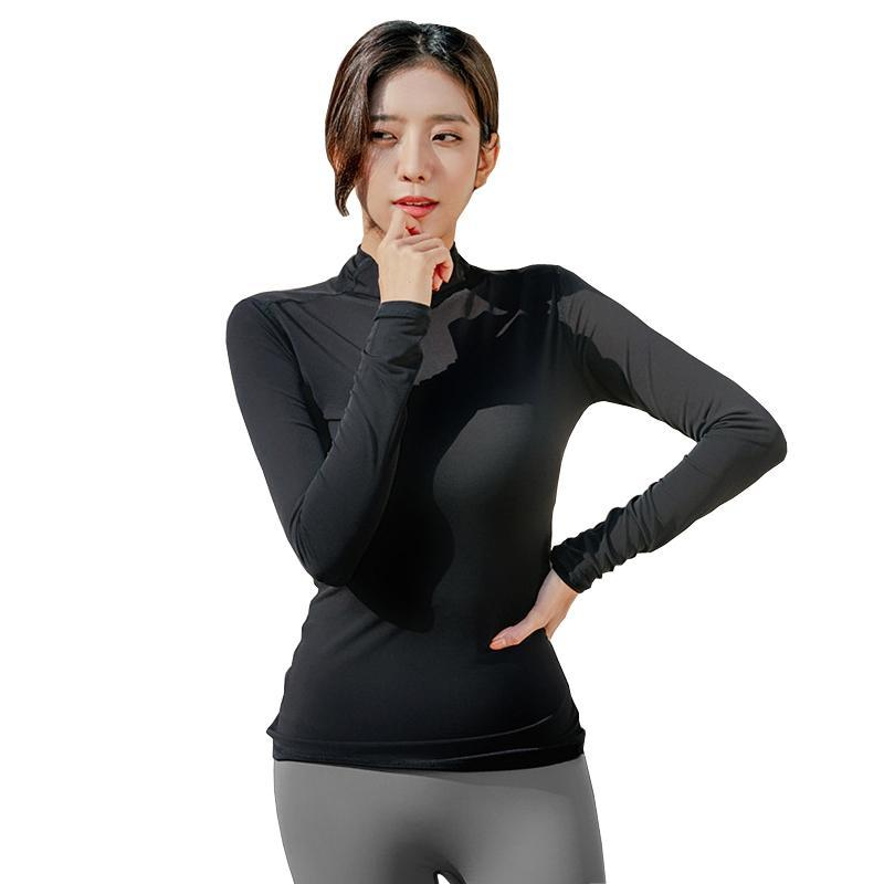 Наряды йоги Стручка Спортивная футболка с длинными рукавами Женская Фитнес Топы Тонкие Топы Тонкий Сплошной Цвет Одежда Женщины Бег Верх